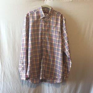 ALEX CANNON Men's Dress Plaid Check Shirt Large